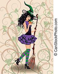 lindo, bruja, calabaza, Halloween