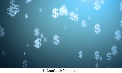 money rain background, dollars 3d animation, seamless loop...