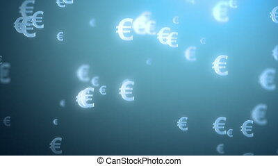 money rain background, euro 3d animation, seamless loop see...
