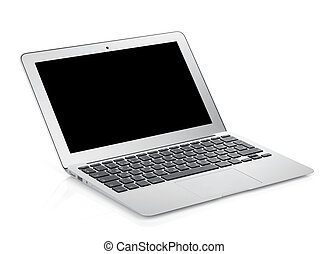 Netbook with black blank screen Isolated on white background...