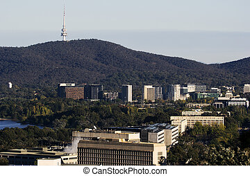 Downtown of Canberra with Telstra Tower. Canberra,...