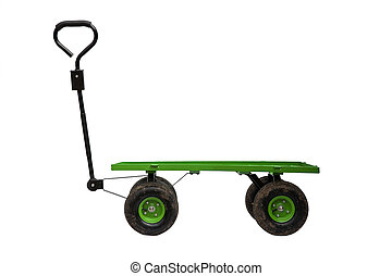 Four wheel trolley isolated - Four wheel trolley and handle...