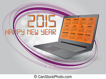 laptop 2015 - illustration of 2015 calendar on screen of...