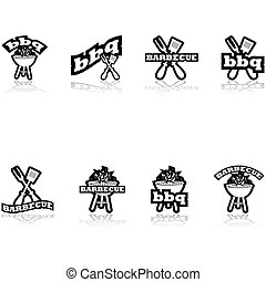 Barbecue icons - Icon set showing a grill a long fork and...