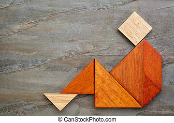 tangram, sentando, figura