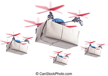 Delivery drone swarm - Swarm of drones delivering packages....