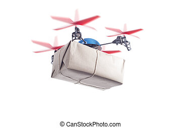Delivery drone with packet flying. instant shipping concept,...