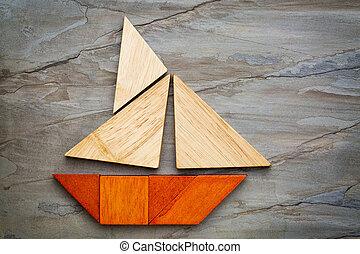 abstratos, Sailboat, tangram, Quebra-cabeça