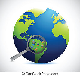 globe magnify location illustration design over a white...