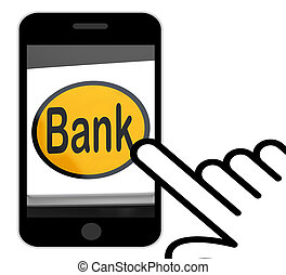 Bank Button Displays Online Or Internet Banking - Bank...