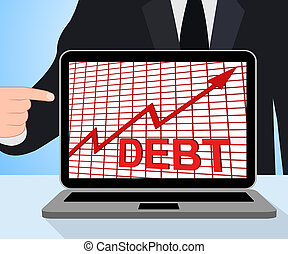 Debt Graph Chart Displays Increase Financial Indebted - Debt...