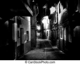 The alley - Night vision from a alley of Extremadura village...
