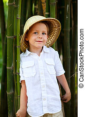 Boy in safari hat - Portrait of cute small boy in safari hat