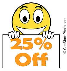 Twenty Five Percent Sign Shows Sale Discount Or 25 Off -...