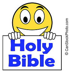 Holy Bible On Sign Shows Religious Book