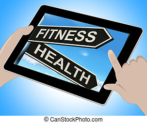 Fitness Health Tablet Shows Work Out And Wellbeing