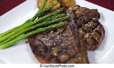 Grilled T-bone Steak with Potatoes - Grilled T-bone steak...