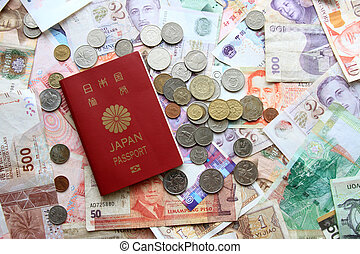 Japanese passport, bills and coins