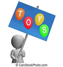 represente, crianças, sinal, crianças, brinquedos,  playthings