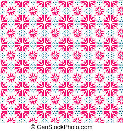 Pink and Blue Stylized Flower Wallpaper - Stylized duotone...