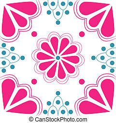 Pink and Blue Stylized Flower tile - Stylized duo-tone pink...