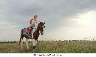 Young girl on horse in field