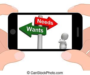 Wants, necesidades, Poste indicador, exhibiciones,...