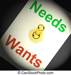 Needs Wants Switch Shows Requirements And Luxuries - Needs...