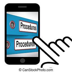 Procedimientos, carpetas, exhibiciones, correcto, proceso,...