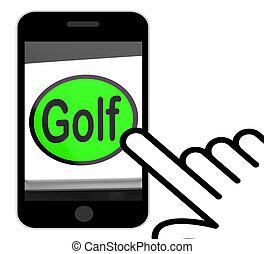 Golf Button Displays Golfer Club Or Golfing