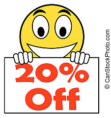 Twenty Percent Sign Shows Sale Discount Or 20 Off - Twenty...