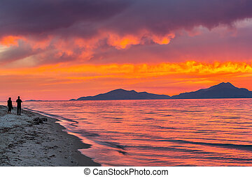 Sunset over sea in Greece - Colorful sunset over sea in...