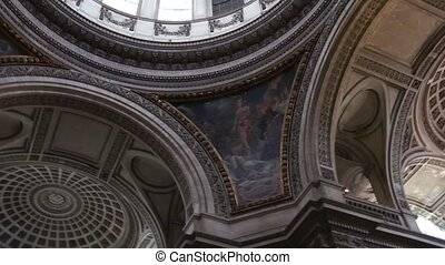 Beautiful Renaissance Dome - Spiral shot of a stained glass...