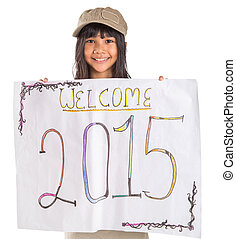 Welcoming New Year 2015 - Young Asian preteen girl with...