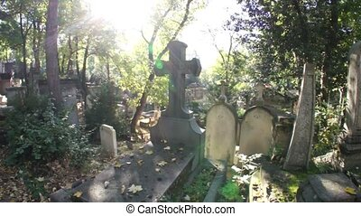 Tomb with Cross, Cemetary - The initial shot is of the cross...