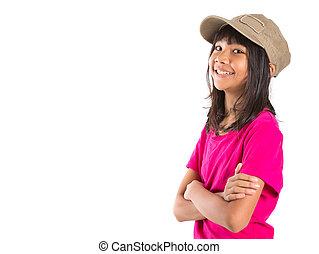joven, preteen, asiático, niña, con, Un, gorra