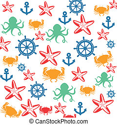 Sea life seamless pattern on white background in square...