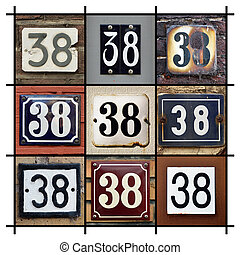 Numbers 38 - Collage of House Numbers Thirty-eight