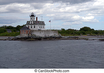 Rose Island Lighthouse, Newport Harbor, Jamestown, RI, USA,...