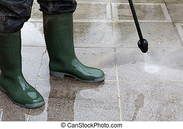 High Pressure Cleaning - 11 - Outdoor floor cleaning with...