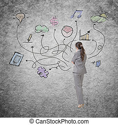 Concept of business plan with Asian business woman standing...