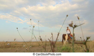 Horseback riding vacations girl rides horse away in field
