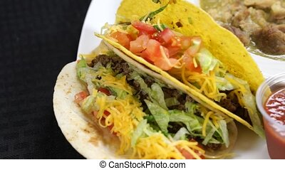 Chili Verde with Tacos and Salsa - Chili Verde served with...