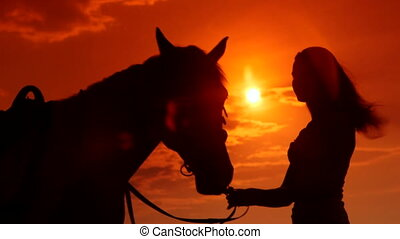 Young girl with her horse in rays of setting sun