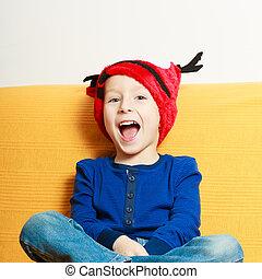 peu, Garçon, rouges, hiver, renne, chapeau, maison