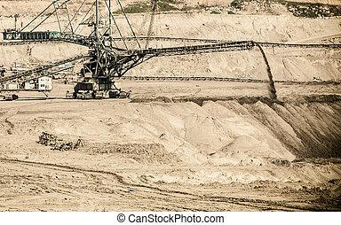 Opencast brown coal mine Giant excavator - Open pit Opencast...