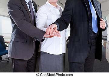 Office teamwork - Office workers in elegant clothes standing...