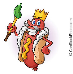 Hot Dog King Cartoon Character - A hot dog cartoon dressed...