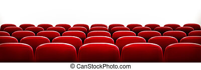 Rows of red cinema or theater seats in front of white blank...