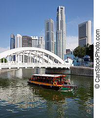 Singapore financial district framed by Elgin Bridge and...